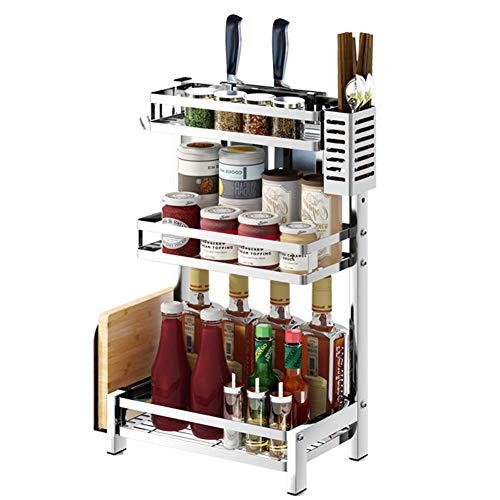 Gewürzregale Spice Rack 304 Edelstahl-Küchen-Lagerregal Tischplatten-Mehrschicht-Lagerregal,Threelayers,C