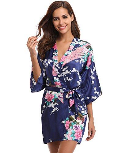 Aibrou Damen Morgenmantel Kimono Robe Bademantel Schlafanzug Nachtwäsche Kurz aus Satin mit Peacock und Blüten Blau S (Bademantel Satin)