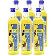 Bayola 100% reines natives Rapsöl, kaltgepresst aus Bayern, 750ml Glasflasche, GQB zertifizierte Qualität ohne Gentechnik (6er Karton)