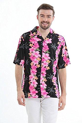 Hawaii-Hangover-Camisa-hawaiana-de-los-hombres-Camisa-Hawaiana-3XL-Panel-Rosa-en-Negro