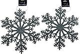 Decorazioni di Natale giganti, a forma di fiocco di neve, argentate, con glitter, da appendere, confezione da 2