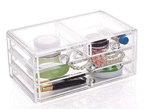 GlamRok Stars Organiseur de haute qualité pour produits cosmétiques, 4 tiroirs, acrylique transparent, idéal pour ranger les vernis à ongles, les rouges à lèvres, le maquillage, les pinceaux, les bijoux, les boucles d'oreilles et autres accessoires