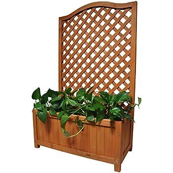 Rectangular Wooden Planter With Lattice For Vines Garden