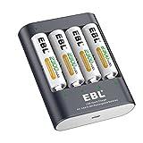 EBL 40Min. USB Schnellladegerät für AA, AAA, Ni-MH Akku mit 4*AA Akku, LED Anzeige, Schnelle Ladegeschwindigkeit