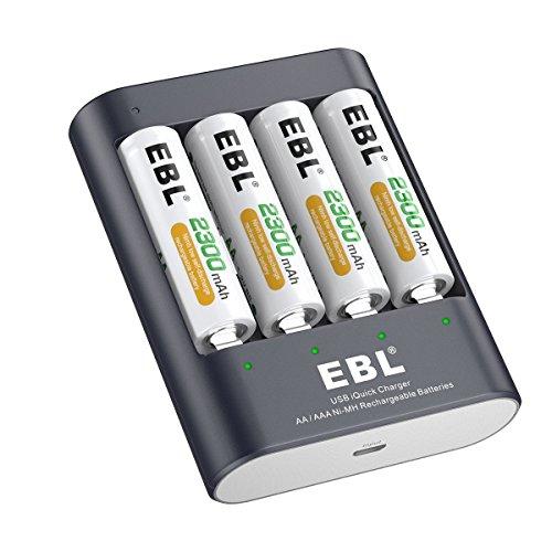EBL Intelligent 40Min USB AA AAA Ni-MH Schnell Akkuladegerät mit 4 Stück AA 2300mAh Ni-MH Akkus (Usb Batterie Aa)