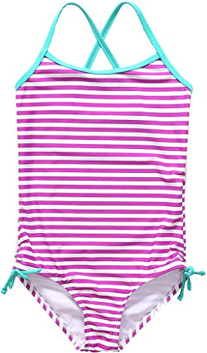 ALove Mädchen Einteiler Badeanzug Streifen Print mit Schleife Violett US 12T, EU 9-10Jahre (Neun Schleife)
