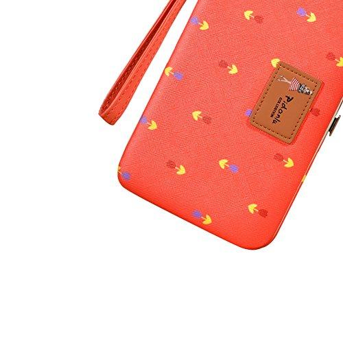 Portafogli da Donna Borsa con Foglia d'albero, Sunroyal Multifunzionale [Grande capacità] Smartphone Wristlet Custodia Case Cover per iPhone 7 /7Plus /6S /6S Plus /6 /6Plus /SE /5S, Samsung Galaxy S8  Modello 03