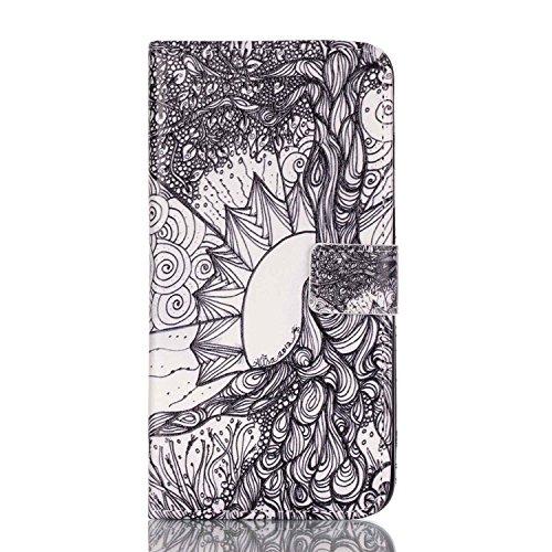 Feeltech iPhone 6/6S 4.7 Inch Coque [Free Stylet] Book Fonction support Style Clip Portable de Protection Folio Couverture TPU Silicone Souple Fonction Anti-poussière Stand Magnétique Porte Fentes Pou Esthétique