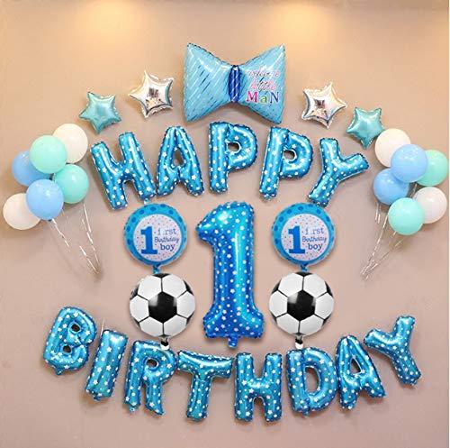 E.For.U® 1. Geburtstag Dekorationen für Junge,Deko 1 Geburtstag, erst Geburtstag Deko Jungen (Blau Ballons) (Ersten Geburtstag Dekoration)