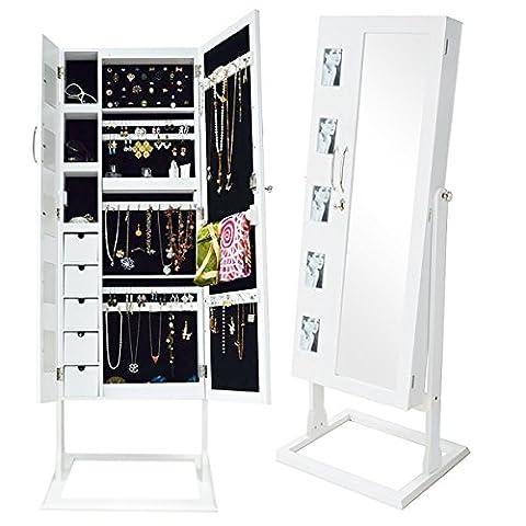 WarmieHomy Lockable Jewellery Armoire Floor Standing Full-Length Dressing Mirror(Double Door,