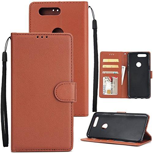 Holster für Honor, Flip Art PU Leder Handy Cover Schutzhülle Telefon mit Schnalle & 3 Card Position für Ehre 7S/P Smart