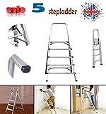3 4 5 6 7 8 Stufenleiter, rutschfest, tragbar, strapazierfähig, Aluminium, 150 kg Kapazität EN131