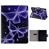 New Kindle 558 (8th Generation 2016) Case, New Kindle PU Leather Case, HuaForCity® PC Inner Frame Tablet Shell Magnetic Clasp Folding Flip Folio 2 Card Slots Stand Holder Case Cover Holster Skin for Amazon New Kindle 558 (6' Display,8th Generation 2016)-Purple Butterfly