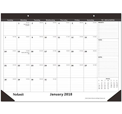 "Nekmit Monthly Desk Pad Calendar, January 2018 - December 2018, 21-3/4"" x 17"""
