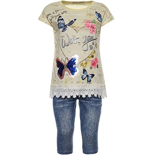 2tlg Mädchen Set Capri-Hose T-Shirt Outfit 21773 Gelb 104