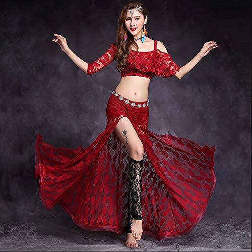 Strass Rock Anzug (Frauen Bauchtanz Kleidung BH Gürtel Rock Top 4 Stück Tanzkostüm Set Wunderschöne Strass Professional Dance Performance Dress Outfit Anzug,Red,L)