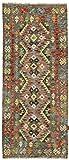 Nain Trading Kelim Afghan 194x81 Orientteppich Teppich Braun/Orange Handgewebt Afghanistan