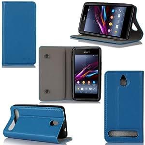 Sony Xperia E1 / E1 Dual Leder Blau Tasche Etui Sleeve Cover mit stand und Präsentationsfunktion - Zubehör Etui Sony Xperia E1 / E1 Dual SIM 16/32/64 GB Flip Case Schutzhülle (PU Leder, Blau) - XEPTIO accessoires