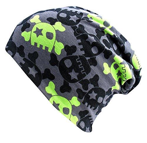 WOLLHUHN ÖKO Long-Beanie, Wende-Mütze, ganzjährig, mit coolen Skulls in grau/grün für Jungen und Mädchen, 20141201, Größe L: KU 54/56 (darüber / Erwachsene)