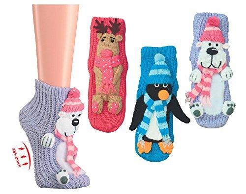 Homesocks Unisex ABS-Socken - Elch Eisbär Pinguin zur Wahl - 56362 Gr. 20-42 Größe 35-38, Farbe Pinguin (Herren-pinguin 36)