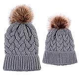 Lamdoo 2 Pieces Mutter Kind Kind Hüte Warme Winter Strickmütze Caps Mama Baby Häkeln Mützen - Grau