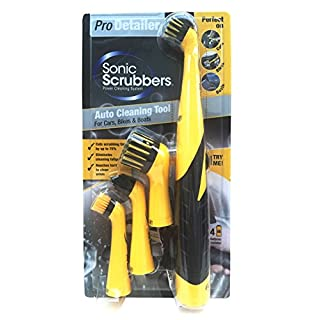 SonicScrubber Pro Detailer Cleaning Brush Kit for Cars/Bikes/Boats, Yellow