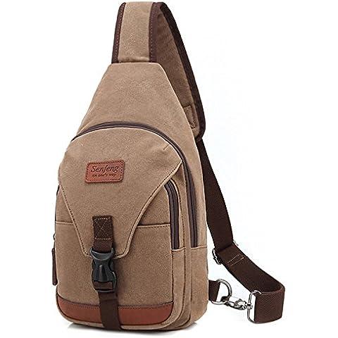 Outreo Pecho Bolso Bandolera Hombre Bolsos de tela Bolsa Vintage Sport Bolsas de Viaje Lona Colegio Peque?as Casual Chest Bag Outdoor Monta?a Originales