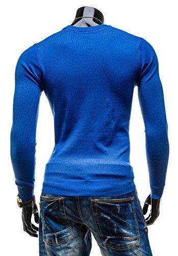 BOLF Herrenpullover Pulli Sweatshirt Strick Sweatjacke Strickjacke Sweater Top S-WEST 896 Blau