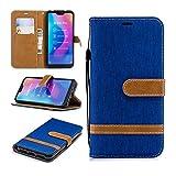 Xiaomi Mi A2 Lite Funda Libro con Tapa Carcasa Flip Case Antigolpes Cover Cartera Billetera Diseño Tela Vaquero Color Azul Claro