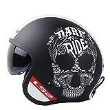 Weinlese-Motorrad-Sturzhelm-offener Gesichts-Retro Roller Moto-Sturzhelm mit Sun-Schild-Motorrad Vespa-Sturzhelmen of 599 Black Dare XXL