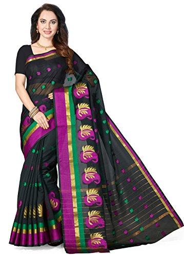 Ishin Cotton Blend Black Zari Woven Party Wear Wedding Wear Casual Wear Festive Wear New Collection Latest Design Trendy Women\'s Saree/Sari