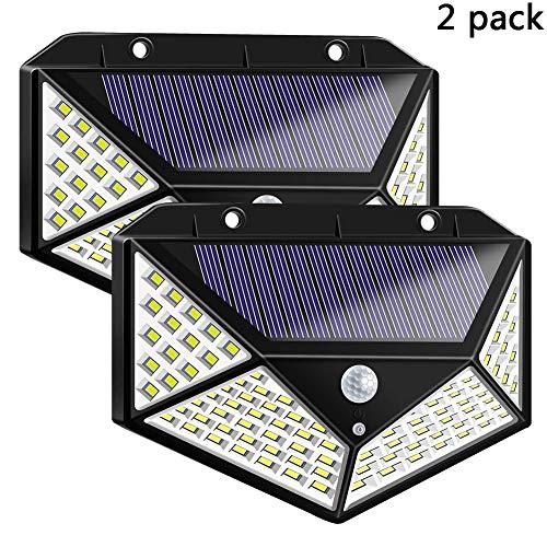 HEGUAN Solar-Sicherheits-Leuchten, Außen 100 LED-wasserdichte Sicherheit Wand-Nachtlicht mit Bewegungsmelder 270 ° Weitwinkel für Garage Garten Gehweg,2pack -
