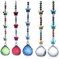 H y D 5piezas Bola de cristal lámpara de techo Prism Home Feng Shui colgar mariposa decoración de la boda