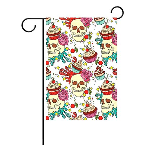 l Sugar Skull Dekorative Garten Flagge Polyester für Home Garten Decor (Sugar Skull-fahne)