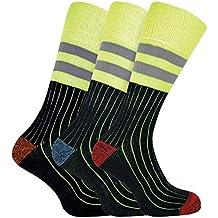Sock Snob 3 Pares Hombre Algodon Calcetines Hi Viz Reflectantes Trabajo  Para Botas Zapatos de Seguridad 7bdb005f8b5c0
