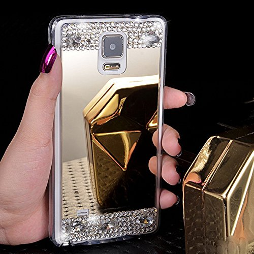 EINFFHO Silicone Miroir Coque Samsung Galaxy Note 4 Protector Bumper Strass Diamant Briller Soft Silicone Maquillage Réfléchissant Placcatura Miroir Housse Étui pour Samsung Galaxy Note 4, Or