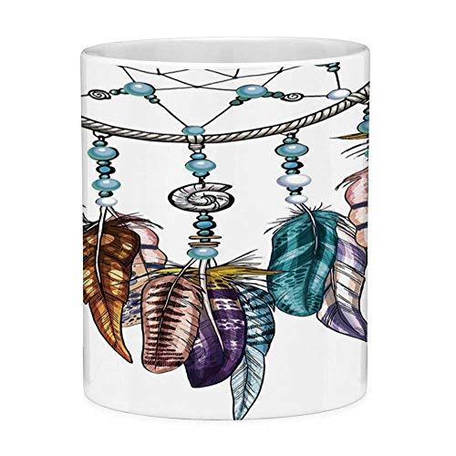 Sin plomo Taza de café de cerámica Taza de té Pluma blanca 11 onzas Taza de café divertida Atrapasueños adornado con plumas y figuras de piedras preciosas Astrología Espiritual Símbolo Multicolor