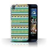 Custodia/Cover Rigide/Prottetiva STUFF4 stampata con il disegno Azteco Tribal Modello per HTC Desire 626G+ - Verde/Viola