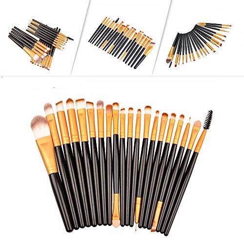 Professionnel Kit de 20 Pinceaux Maquillage - Brosse de Maquillage / Brush Cosmétique Beauté & Make-up Make Up Brush Pinceau cosmétique de qualité (Noir-Or)
