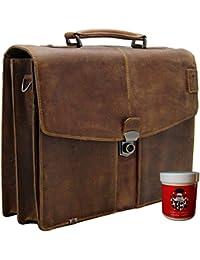 Freiherr Von Maltzahn Baron Of Men's Briefcase - Laptop Bag Kepler Brown Leather Incl. Care