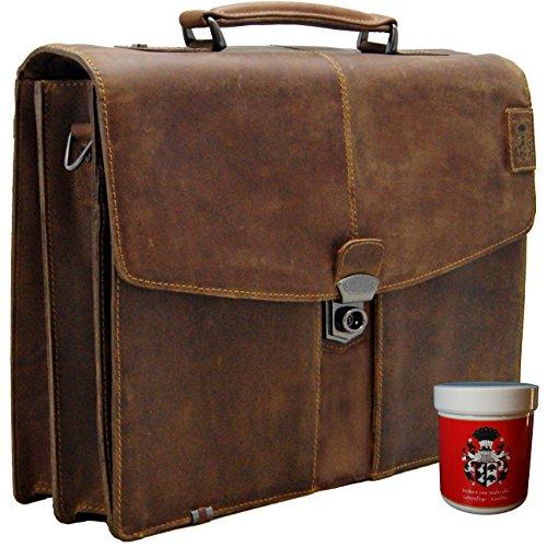 FREIHERR von MALTZAHN Aktentasche, Laptoptasche KEPLER aus braunem Leder inkl. Lederpflege