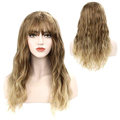 (Damen Perücke Ombre Blond Lockig Gewellt Lang Haar mit Pony Hitzebeständig Kunsthaar Curl Wig für Kostüm Party Halloween von Discoball)