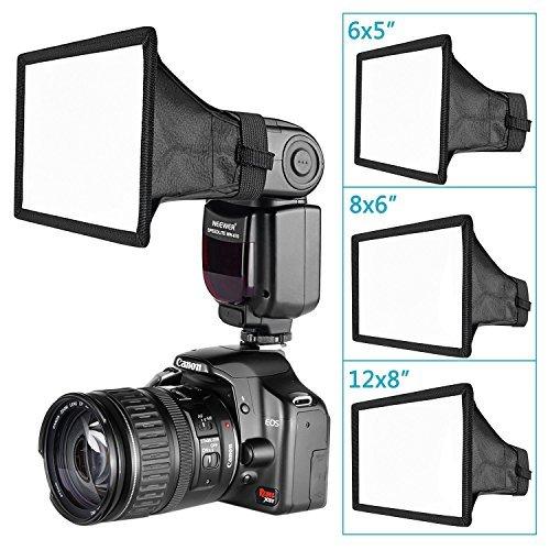Neewer 3-Pack Speedlite Flash Diffusor Licht Softbox - 6x5 Zoll, 8x6 Zoll, 12x8 Zoll für Canon, Nikon, Neewer, Youngnuo und andere On-Kamera oder Off-Kamera Flash mit Tragetasche