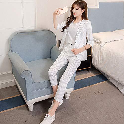 Fousamax Frauen-Streifen-Blazer-Anzugsatz, beiläufiger dünner Klage-Jacken-Mantel Fester Outwear Fünfpunkthülsen-Strickjacken der offenen Front -