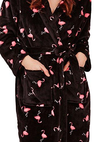 Generic - Robe de chambre - Avec taille nouée - Imprimé Animal - Manches Longues - Femme Black w Pink Flamingo