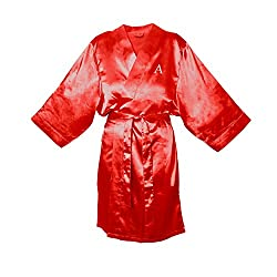 Cathys Concepts Personalized Red Satin Robe, S/M, Letter A