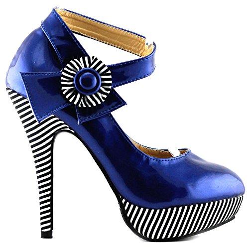 Visualizza Story sexy della caviglia Flower Strap banda stiletto della piattaforma pompa i pattini, LF30404 Blu Royal