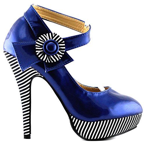 Voir L'histoire Sexy Cheville Flower Strap Bande Plate-forme Stiletto Pompes Chaussures, Lf30404 Royal Blue