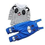 CHIC-CHIC Ensemble Salopette avec Haut Longues Manches Bébé Garçon Fille Panda Rayure Haut T-shirt Mignon 12-18mois Bleu