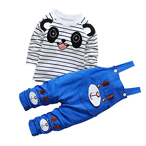 CHIC-CHIC Ensemble Salopette avec Haut Longues Manches Bébé Garçon Fille Panda Rayure Haut T-shirt Mignon 18-24mois Bleu De feuilles